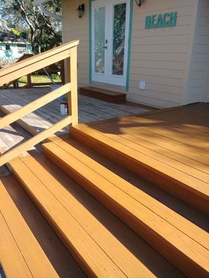 Wood deck stained in New Smyrna, FL (1)